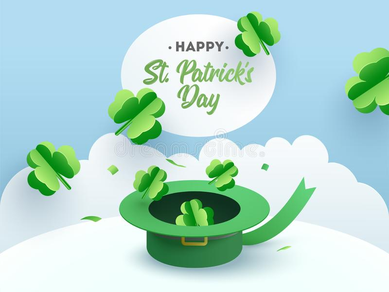Paper cut style clover leaves illustration with leprechaun hat for St Patrick`s Day. royalty free illustration