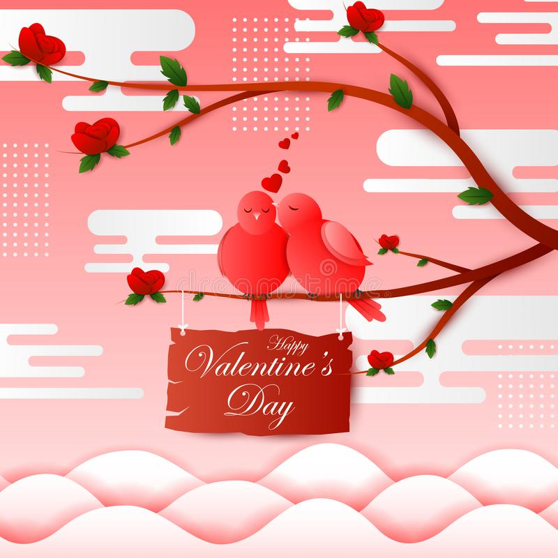 Paper cut style Happy Valentine`s Day greetings background stock illustration