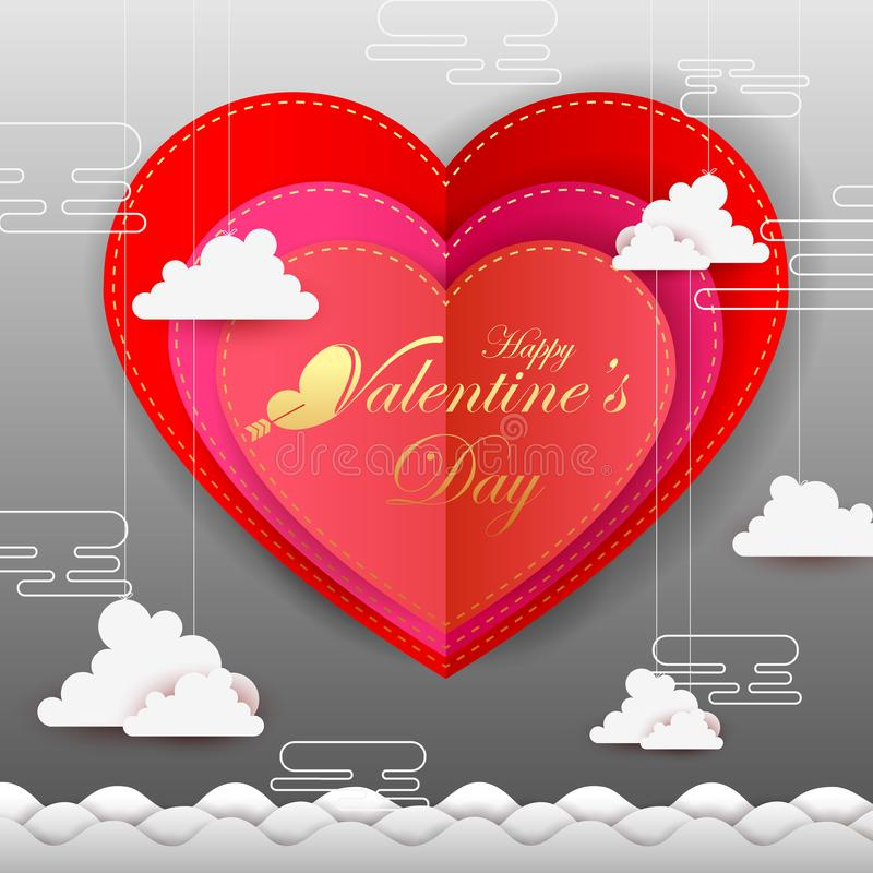 Paper cut style Happy Valentine`s Day greetings background royalty free illustration