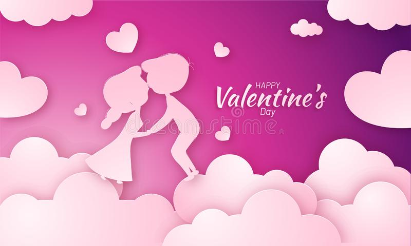 Paper cut style, illustration of young couple fall in love on cloudy purple background. Poster or banner design for Valentine`s Day celebration vector illustration