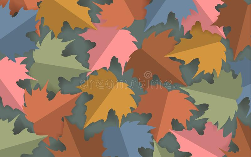 Paper cut style pastel colored maple leaves background, autumn fall thanksgiving banner royalty free illustration