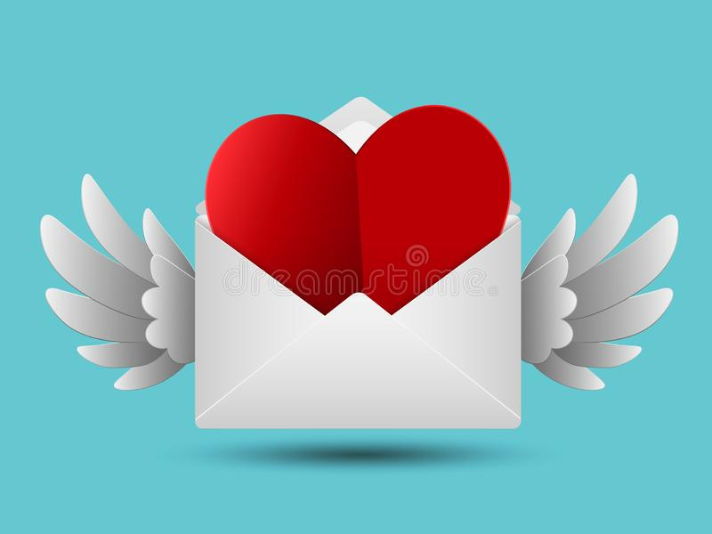 Paper cut style red valentines paper heart in white envelope with wings, Love message concept, Vector illustration stock illustration