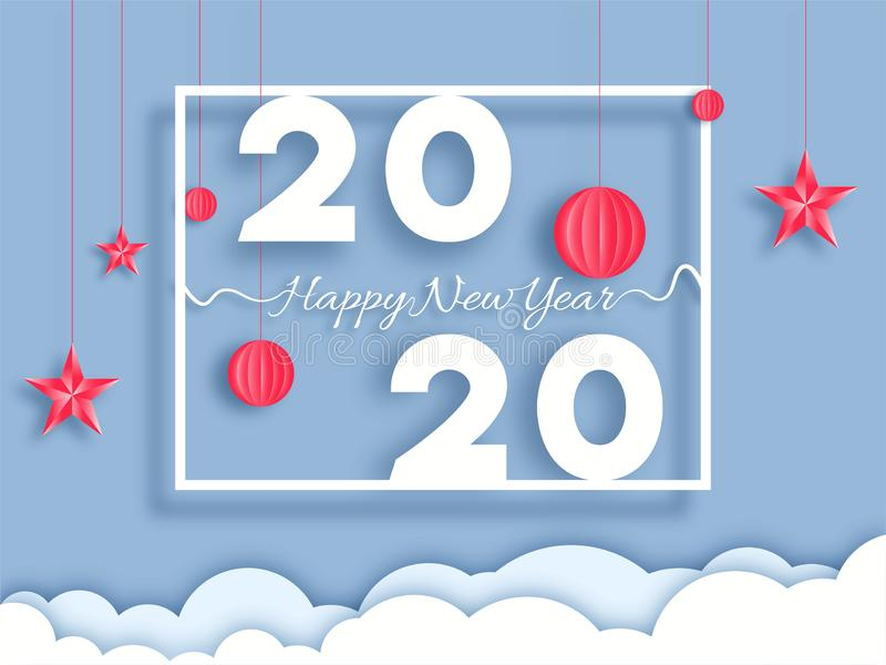 Paper cut style 2020 text with hanging lantern baubles and stars decorated on cloudy background. stock illustration
