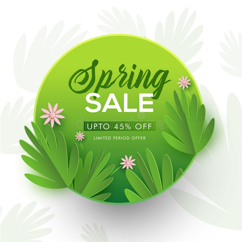 Paper cut style tropical leaves and flowers decorated spring sale background. vector illustration