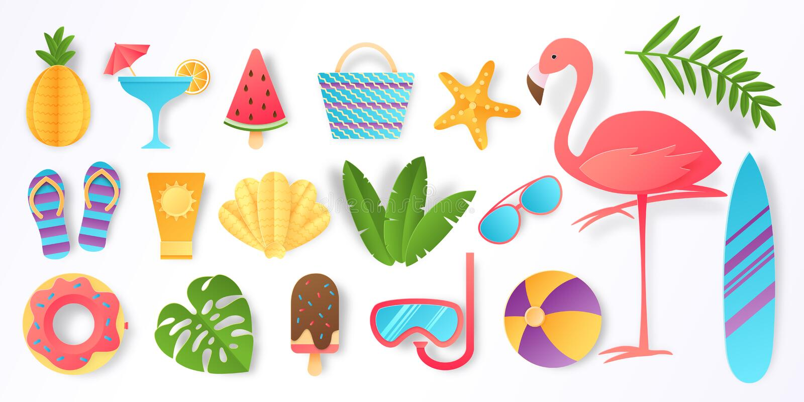 Paper cut summer elements. Trendy tropical leaves pink flamingo and beach stickers. Vector sun ice cream ball vacation stock illustration