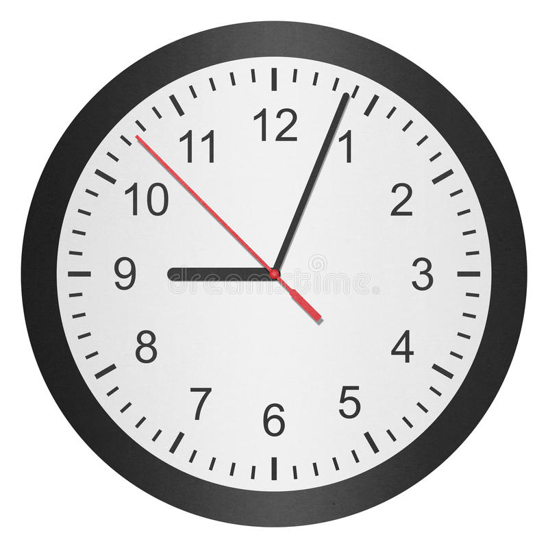 Paper cut of time clock, watch is number with hour hand and minute hand. The paper cut of time clock, watch is number with hour hand and minute hand stock photos