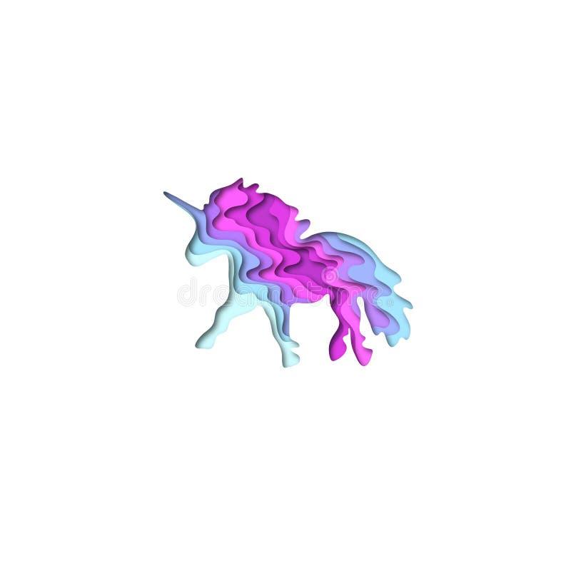 Paper cut unicorn shape 3D origami. Trendy concept fashion design. Vector illustration stock illustration