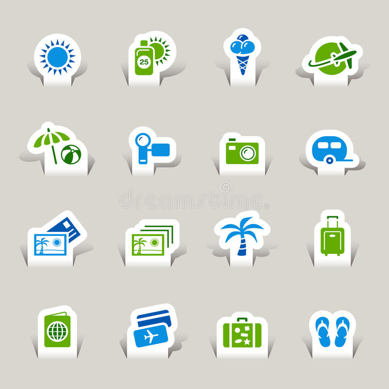 Download Paper Cut - Vacation icons stock vector. Illustration of button - 27426778