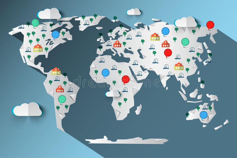 Paper Cut Vector World Map with Clouds vector illustration