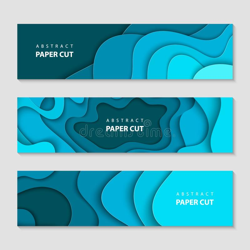 Paper cut waves shape abstract template, deep blue background. Horizontal banners, cover layout, social media design. royalty free stock image