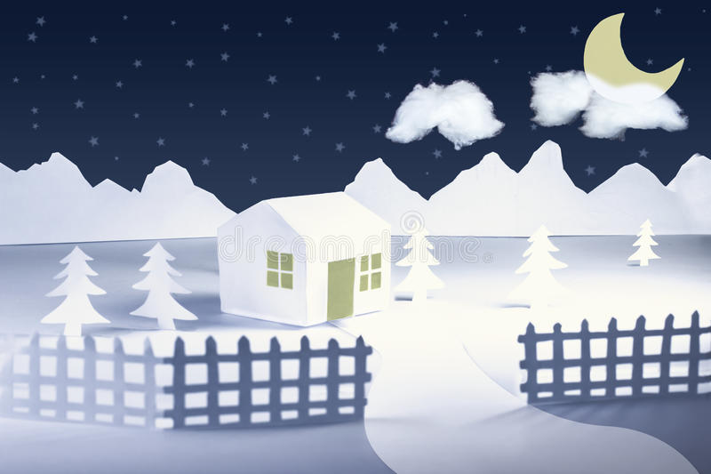 Paper cut winter landscape. Soft light peaceful and dreamy landscapes. Night stars and yellow moon in a Paper cut and pop up winter landscape vector illustration