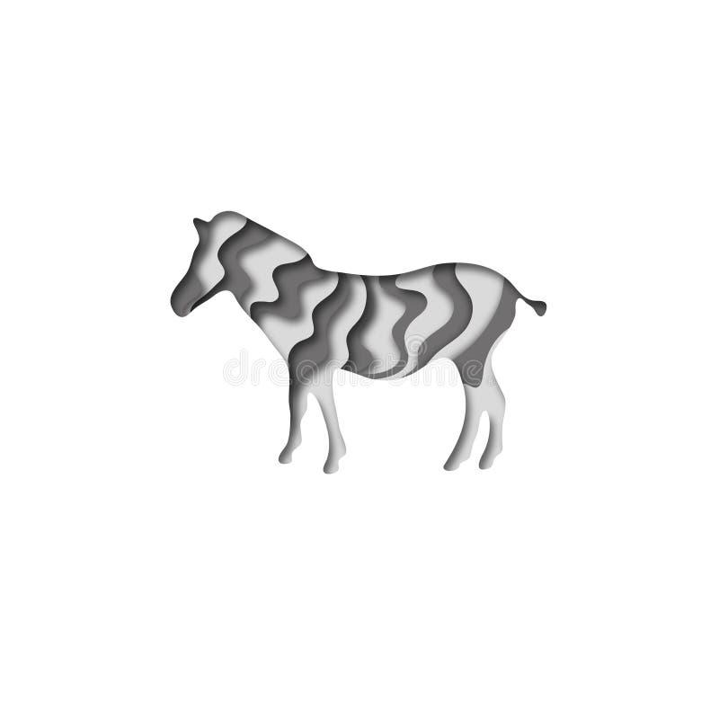 Paper cut zebra, safari animals shape 3D origami. Trendy concept fashion design. Vector illustration. Paper cut zebra, safari animals shape 3D origami. Trendy royalty free illustration