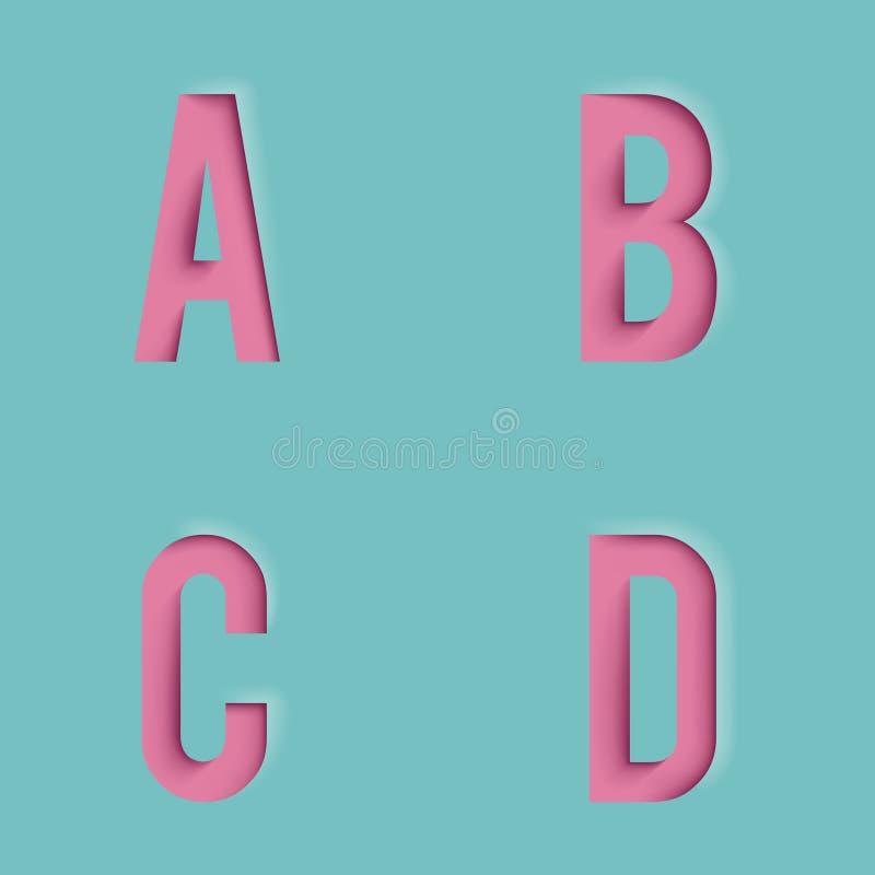Paper Cutout Letters Realistic D Template Design Mock Up Vector - 3d letters template