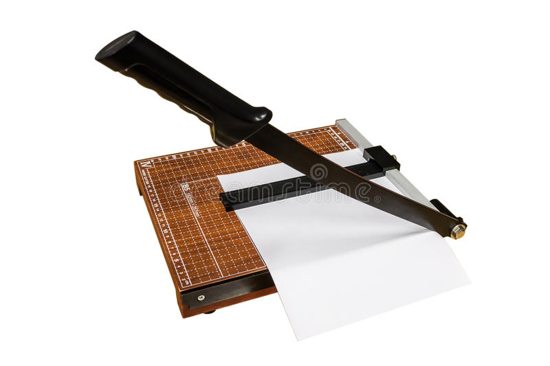 The paper cutter. On isolated background royalty free stock images
