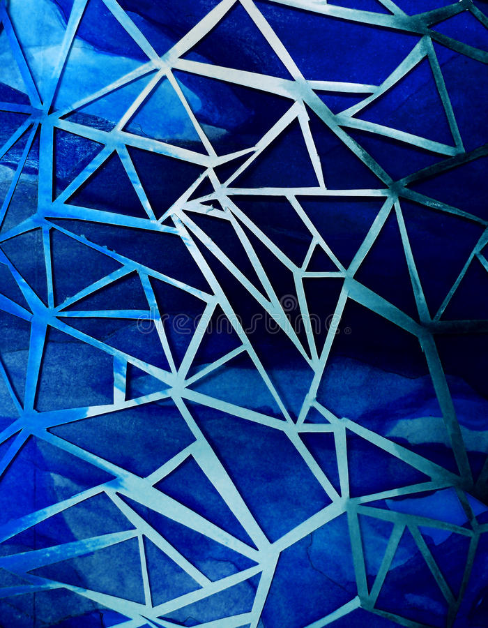 Paper cutting background in blue. A photograph of a piece of art and craft paper cut lattice placed over a background of painted blue paper. Unique and artistic royalty free stock photos