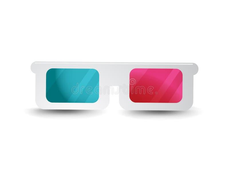 Paper 3d Glasses Cinema Icon Vector Illustration. royalty free illustration