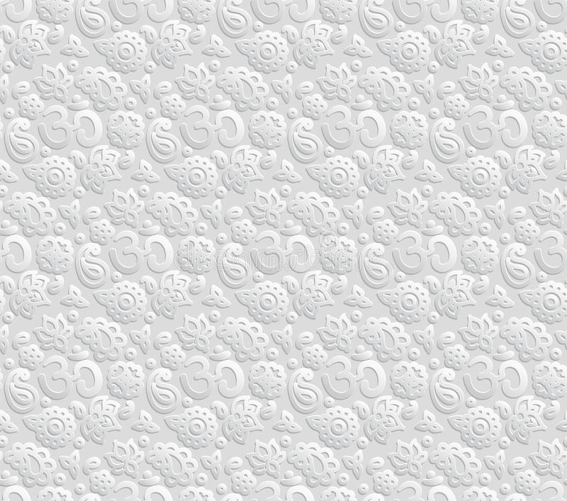 Paper 3D OM seamless pattern stock illustration