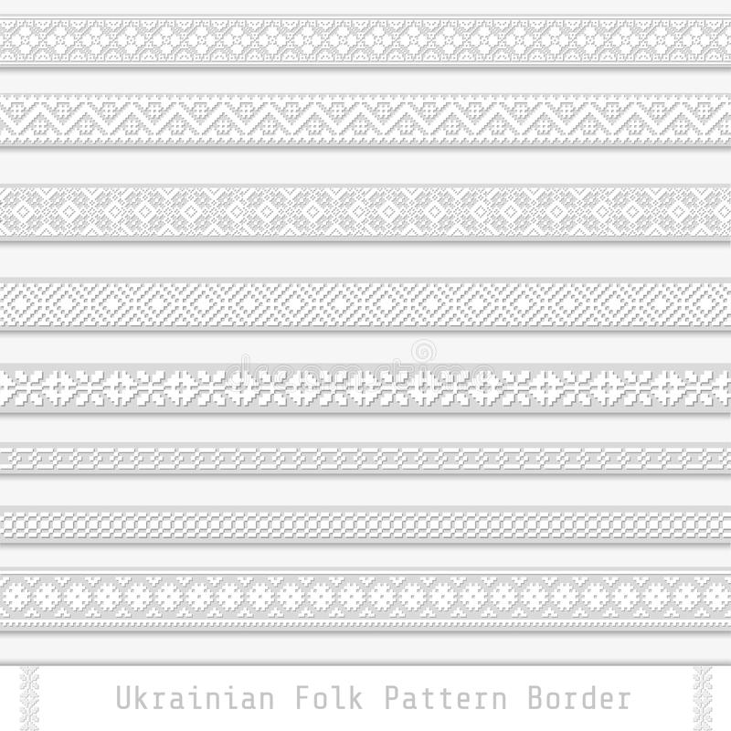 Paper decorative folk ukrainian pattern pixel dividers vector illustration
