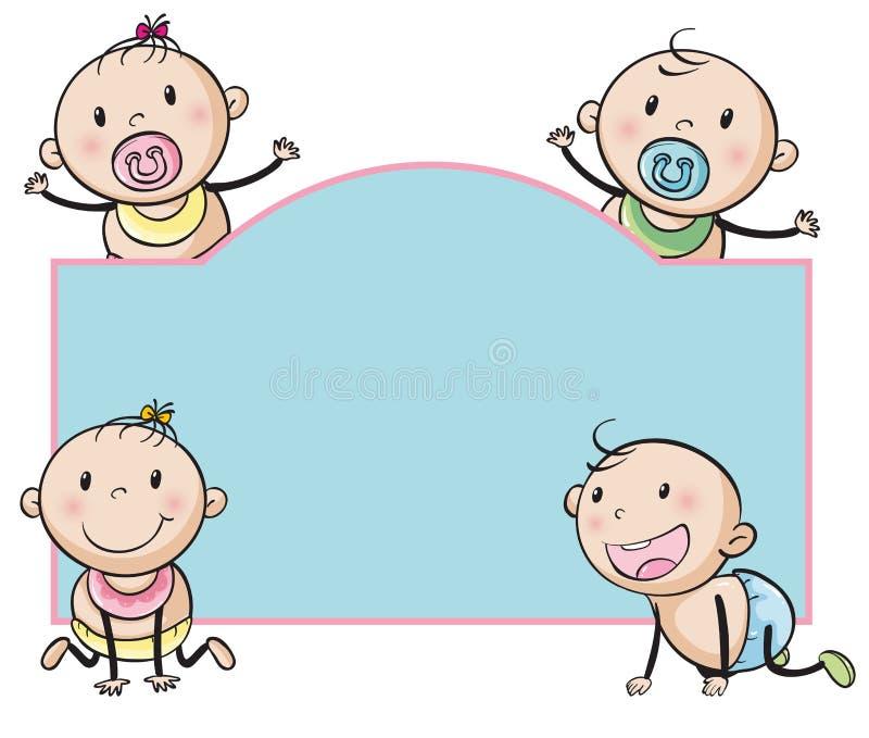 Paper design with babies. Illustration stock illustration