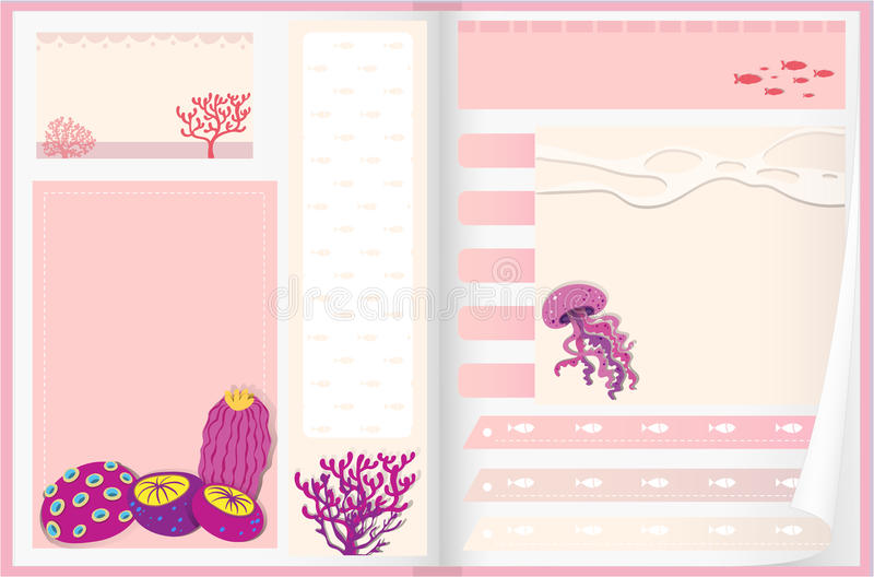 Paper design with coral reef vector illustration
