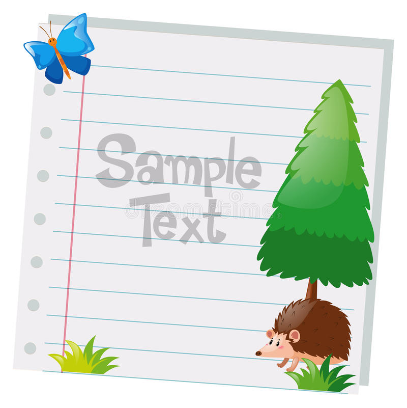 Paper design with pine tree and hedgehog stock images