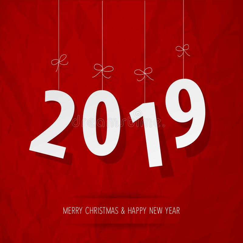 Paper 2019 digits white on a crumpled paper red background. royalty free illustration