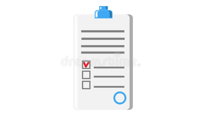 Paper document application form contract with seal and abstract text icon on white background. Vector illustration royalty free illustration
