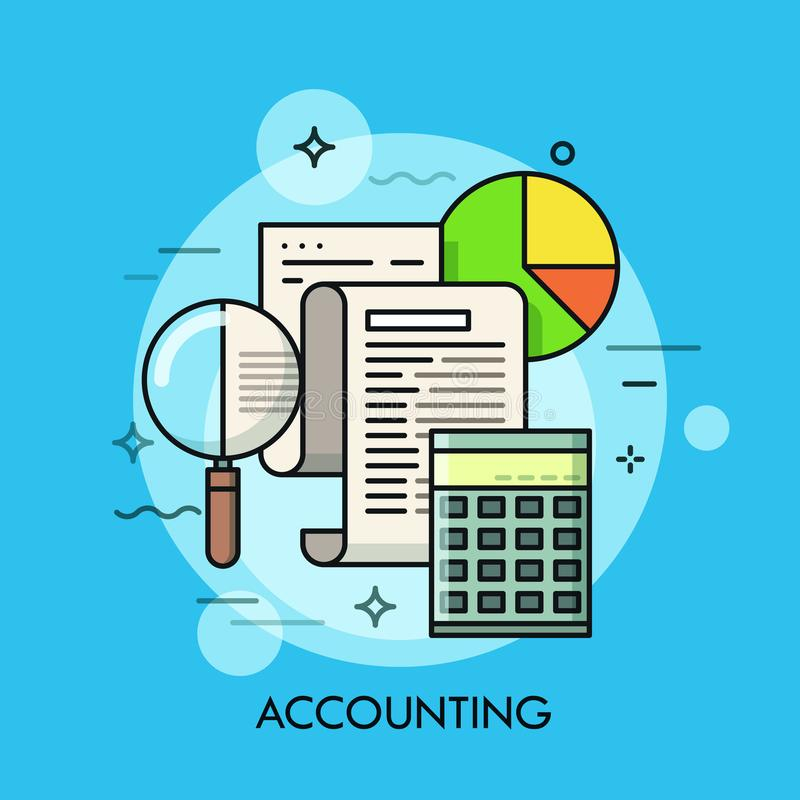 Paper document, magnifying glass, calculator and pie chart. Accounting and auditing service, budget planning, revenue stock photo