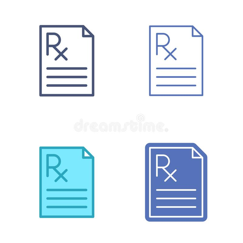 Paper Document With Prescription Symbol Medicine Vector Outline