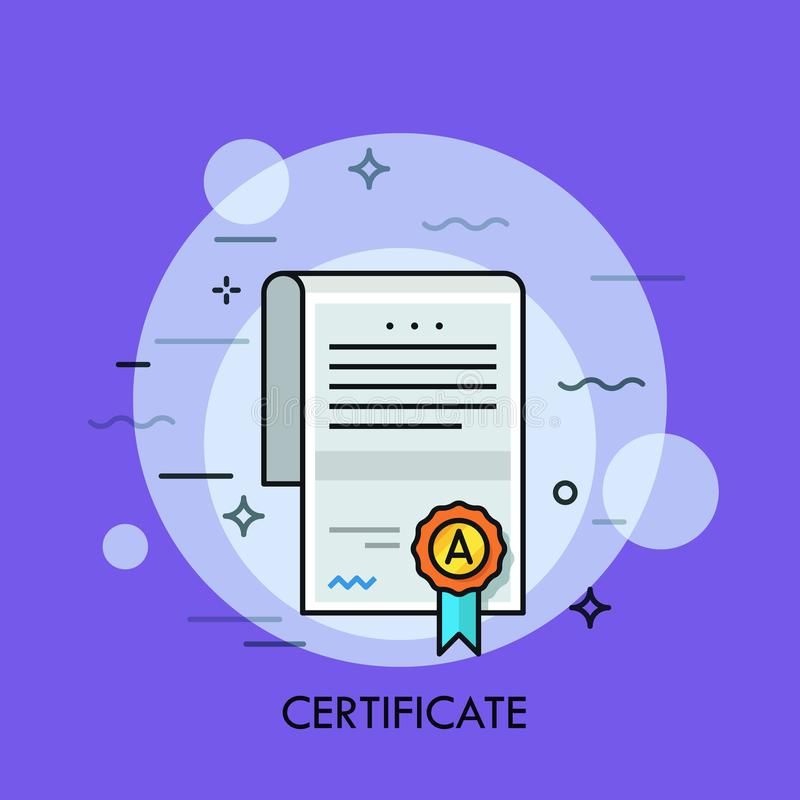 Paper document with text, signature, wafer seal and ribbon. Certificate of honor, merit, appreciation, excellence, award. Achievement or graduation. Vector stock illustration