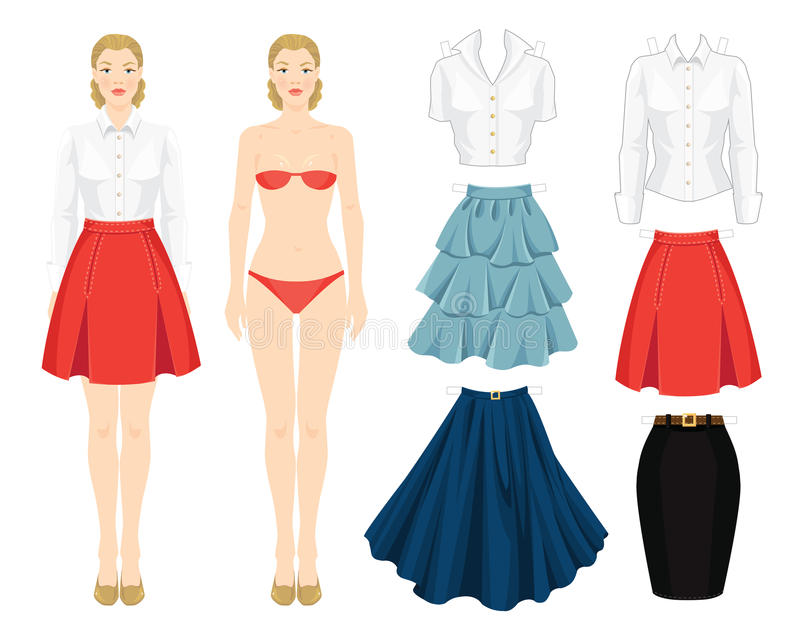 Paper doll with clothes. stock illustration