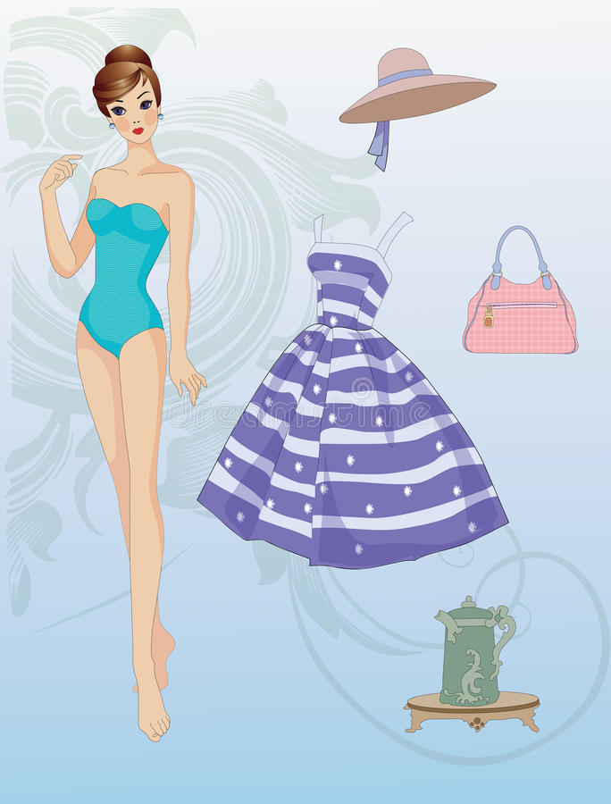 Paper doll with clothes stock illustration
