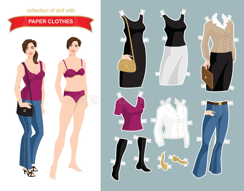 paper doll template woman - paper doll with clothes for office and holiday stock