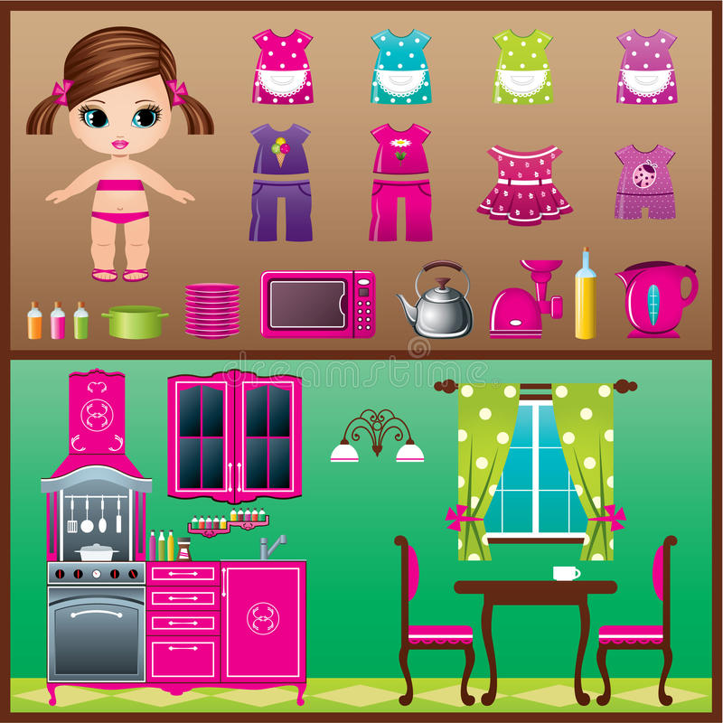 Download Paper Doll With Clothes Set. Stock Vector - Image: 32055926