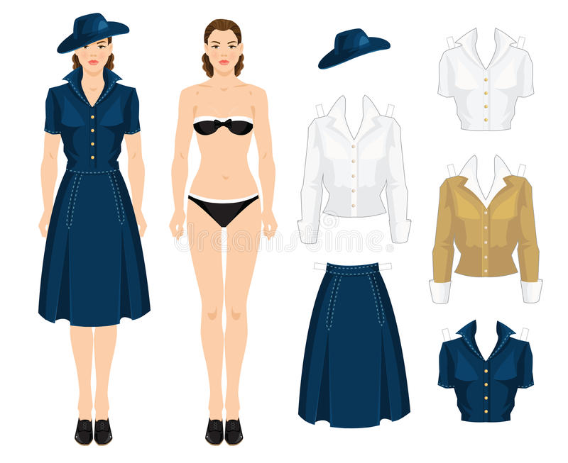 Paper doll with clothes. In vintage forties style. Body template stock illustration