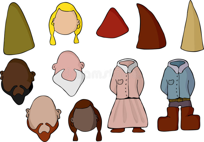 Download Paper Doll Gnome Set stock vector. Image of cartoon, myth - 18657283