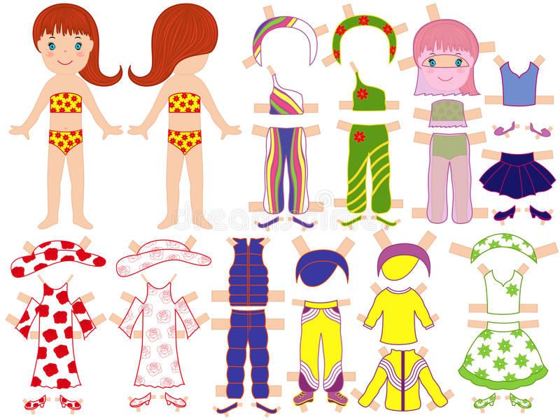 Paper Doll And A Set Of Clothing For The Summer Se Stock ...