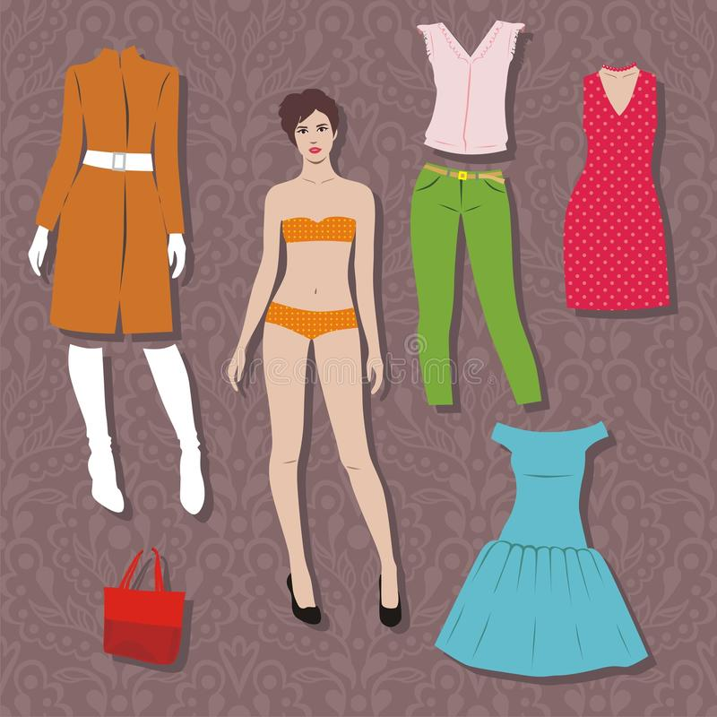 Paper doll stock illustration