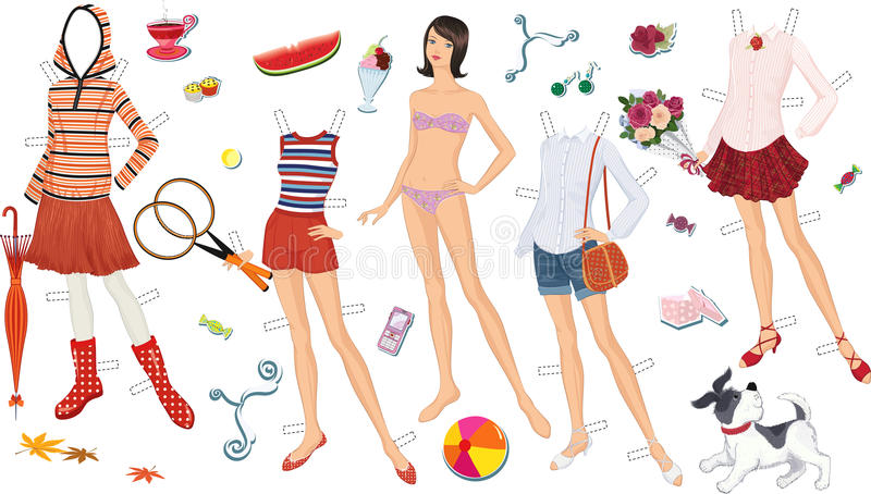 Paper doll. Of a teen girl and clothing for her. Vector illustration stock illustration