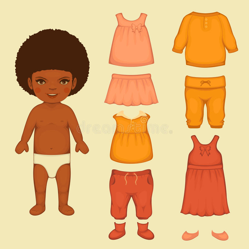 paper doll vector illustration