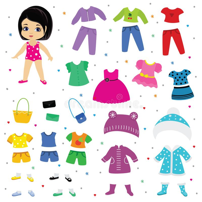 Paper doll vector dress up or clothing beautiful girl with fashion pants dresses or shoes illustration girlie set of stock illustration