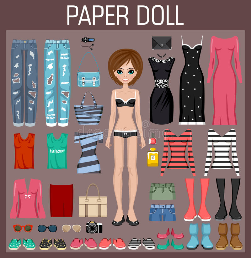 Free Paper Doll With Clothes Royalty Free Stock Images - 59681589
