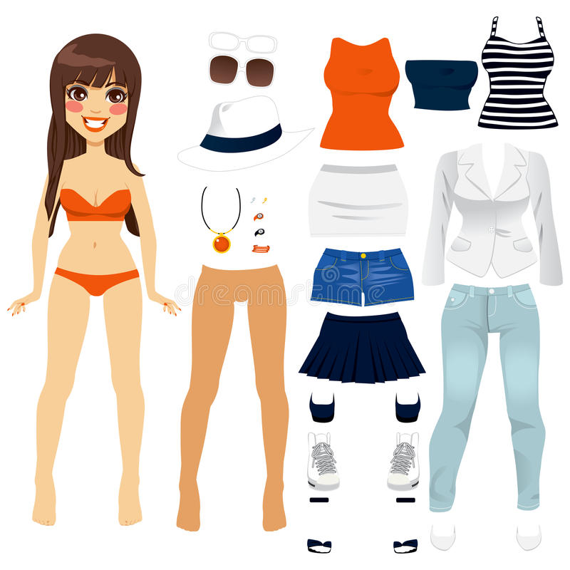 Paper Doll Women Clothing royalty free illustration