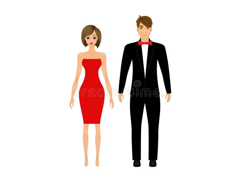 Paper dolls, young woman and guy in beautiful prom party looks, evening gown and suit stock illustration
