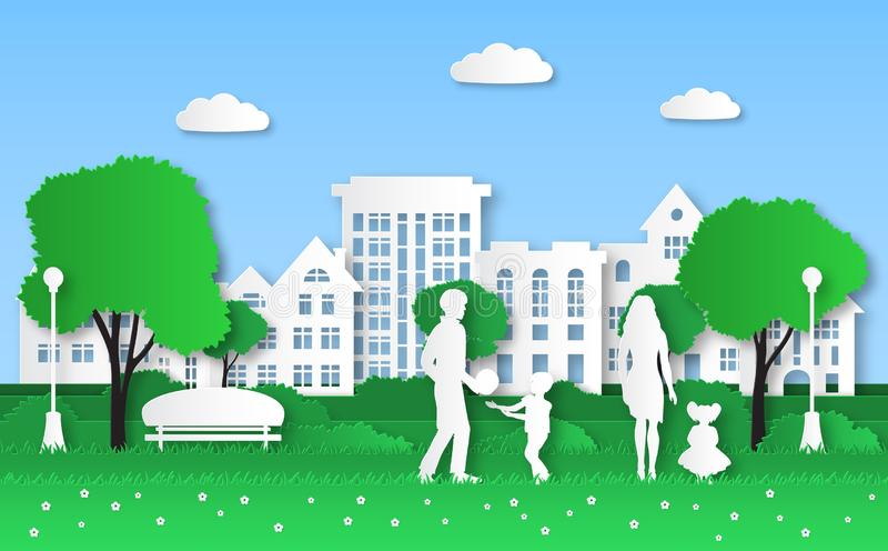Paper eco city. Family with kids in green natural park, urban ecosystem and natural energy origami, ecological vector illustration