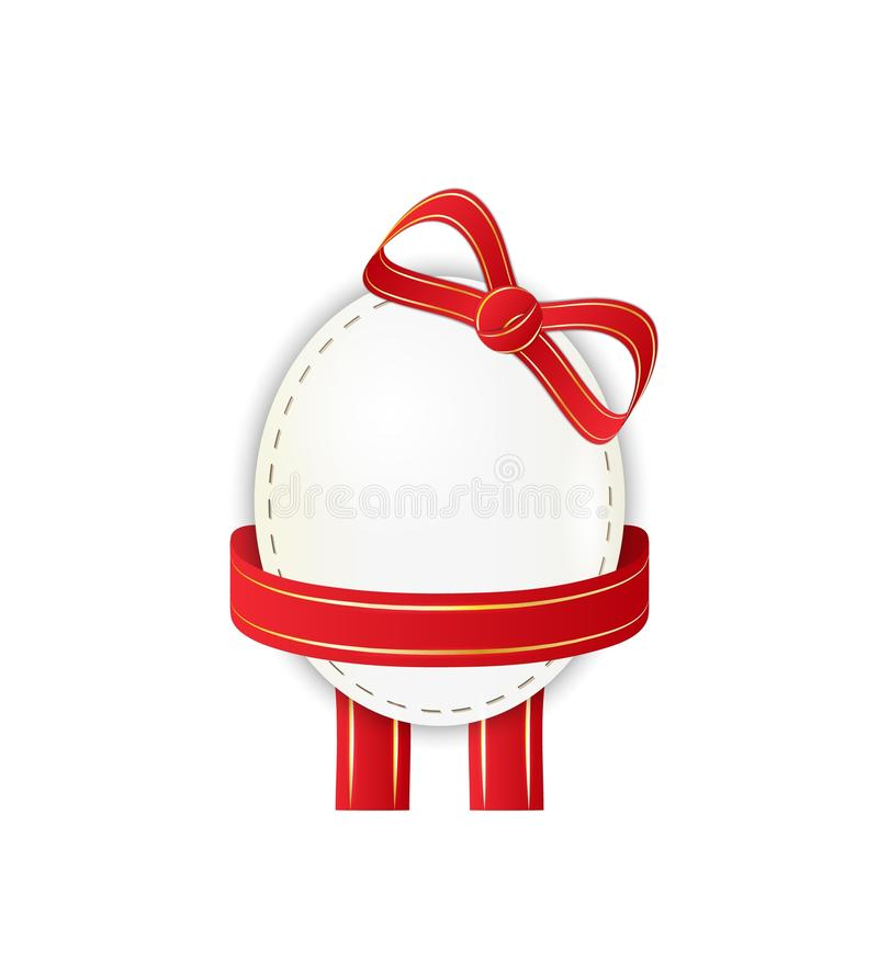 Paper egg with ribbon stock illustration