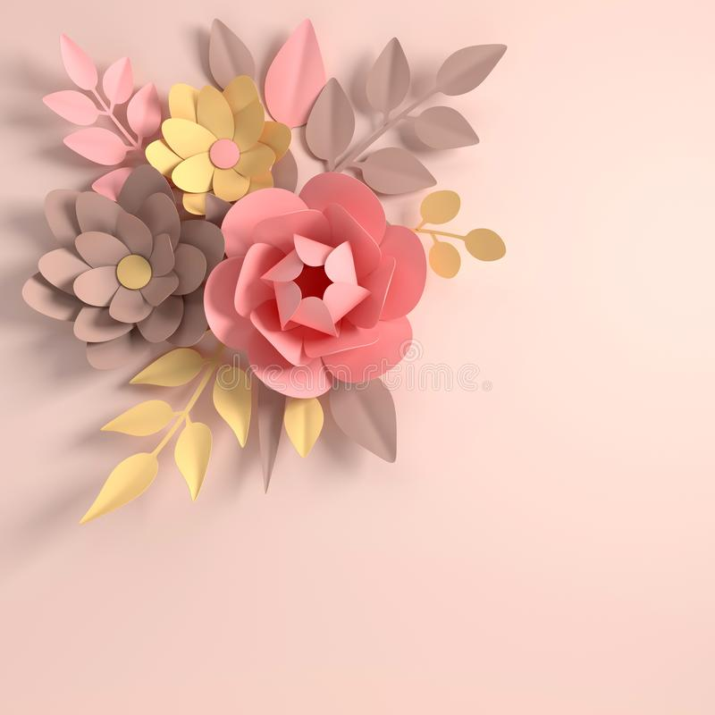 Paper elegant pastel colored flowers on white background. Valentine`s day, Easter, Mother`s day, wedding greeting card. 3d rende stock illustration