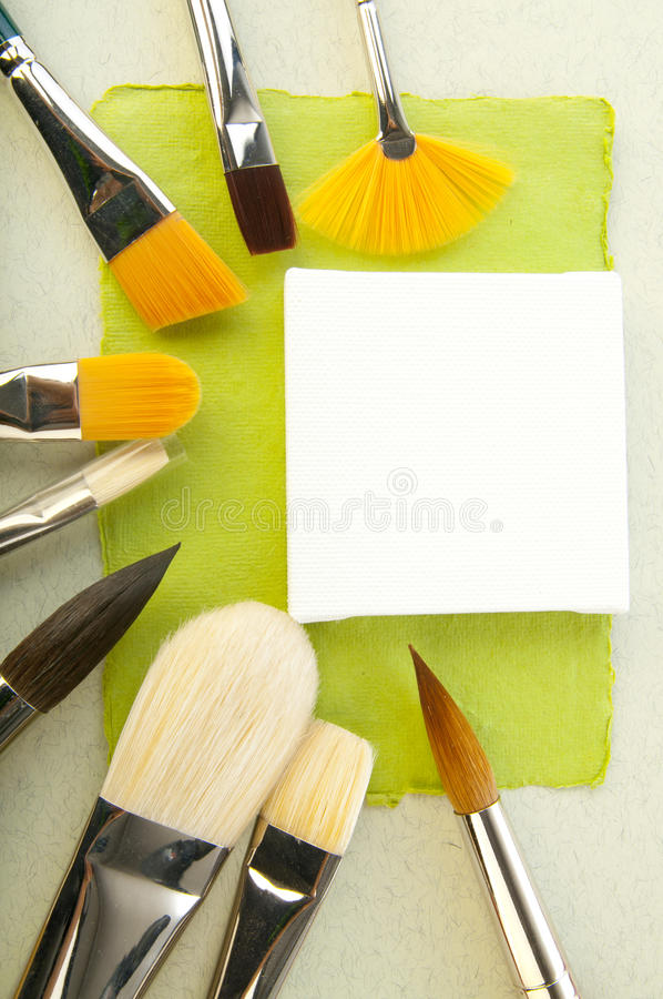 Paper elements for card or scrap-booking. Background with paper elements and brushes for cards or scrap-booking stock images