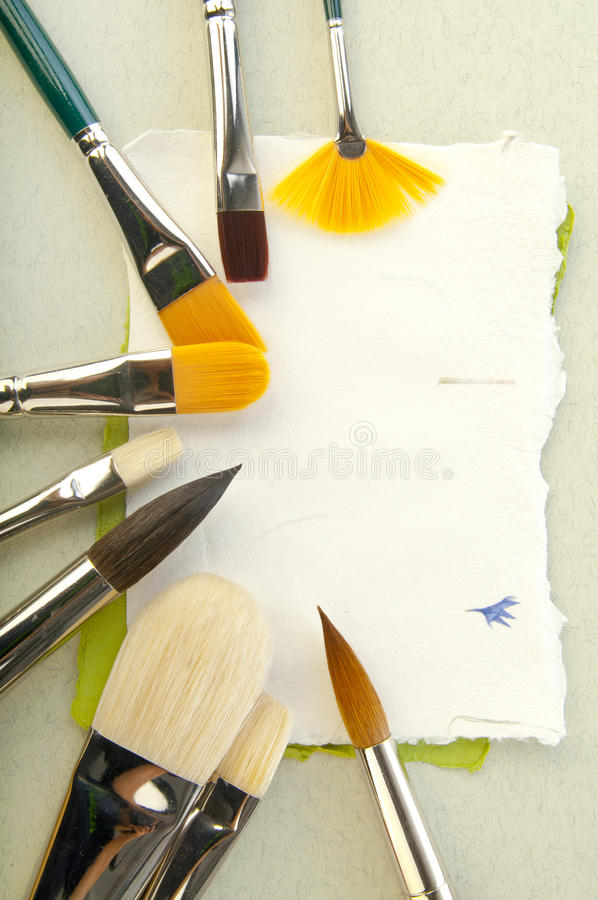 Paper elements for card or scrap-booking. Brushes and paper elements for card or scrap-booking stock photography