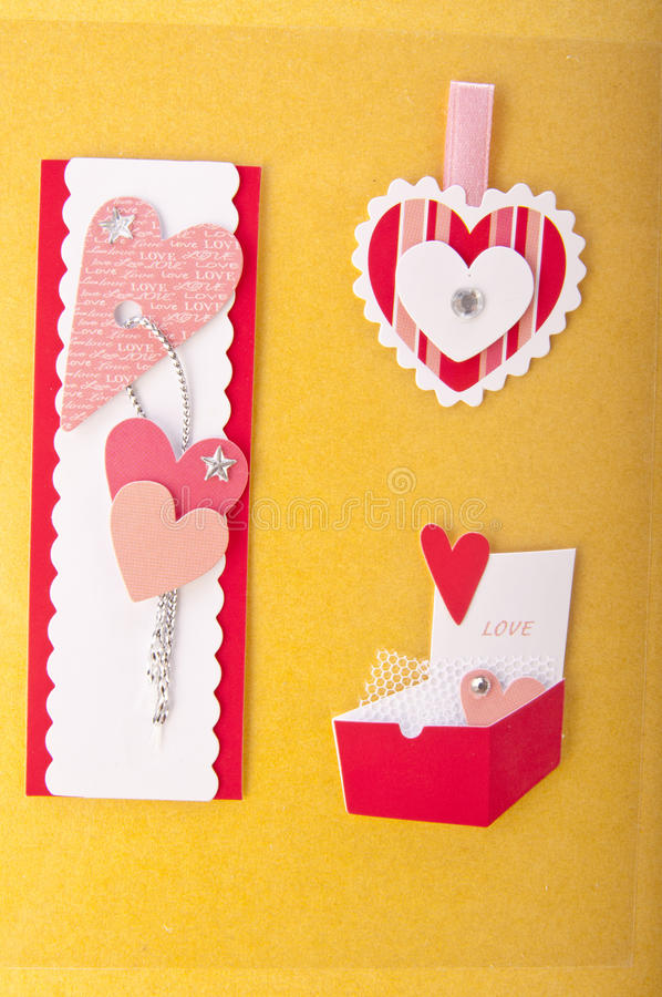 Paper elements for card or scrap-booking. Paper elements for valentine card or scrap-booking stock photo
